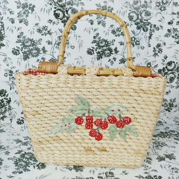 Cappelli Handbags - Cappelli strawberry embroidered straw purse